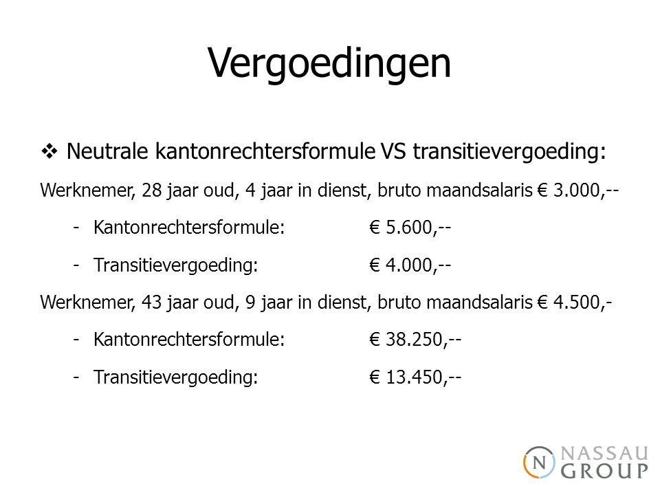 Vergoedingen Neutrale kantonrechtersformule VS transitievergoeding: Werknemer, 28 jaar oud, 4 jaar in dienst, bruto maandsalaris € 3.000,--