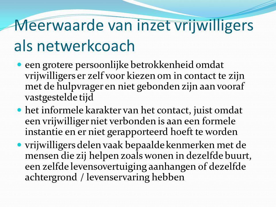 Meerwaarde van inzet vrijwilligers als netwerkcoach