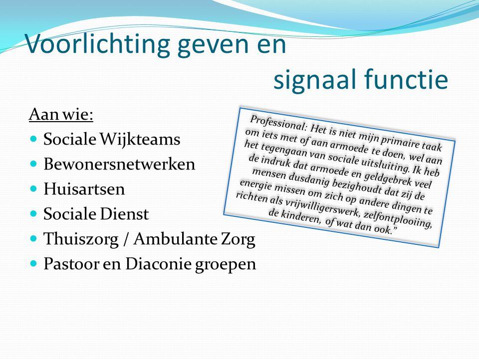 Voorlichting geven en signaal functie