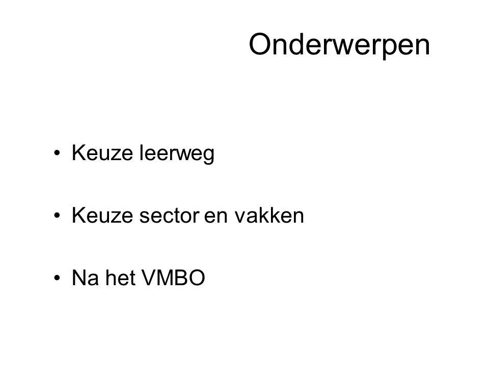 Onderwerpen Keuze leerweg Keuze sector en vakken Na het VMBO