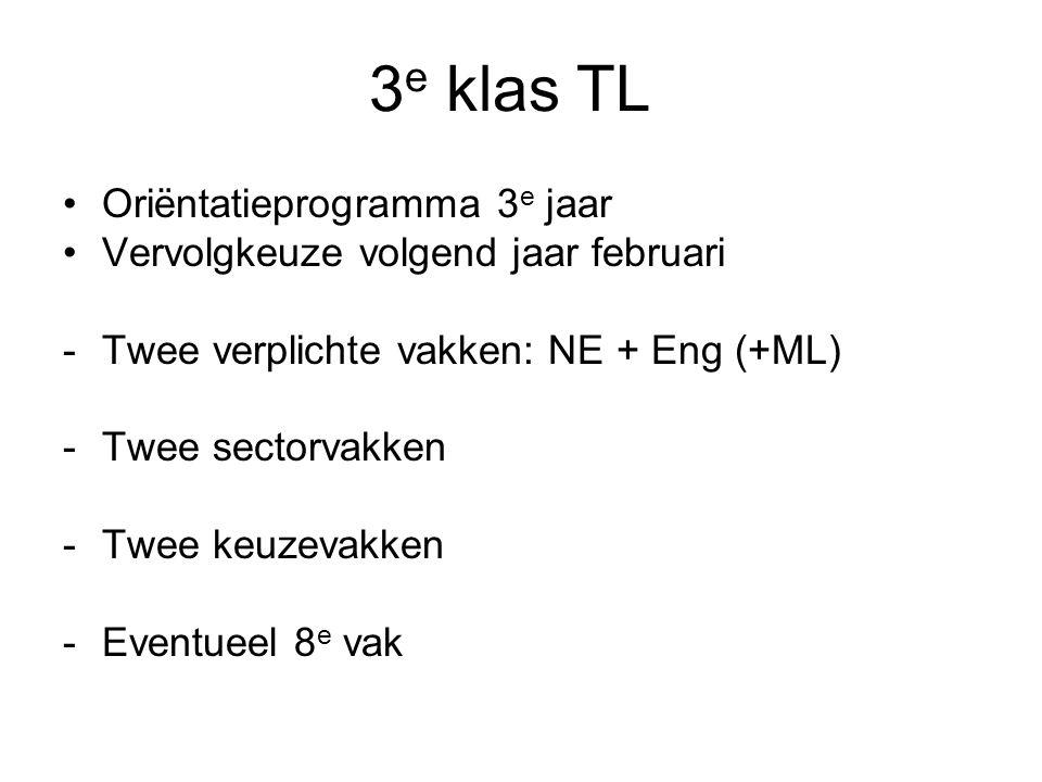3e klas TL Oriëntatieprogramma 3e jaar
