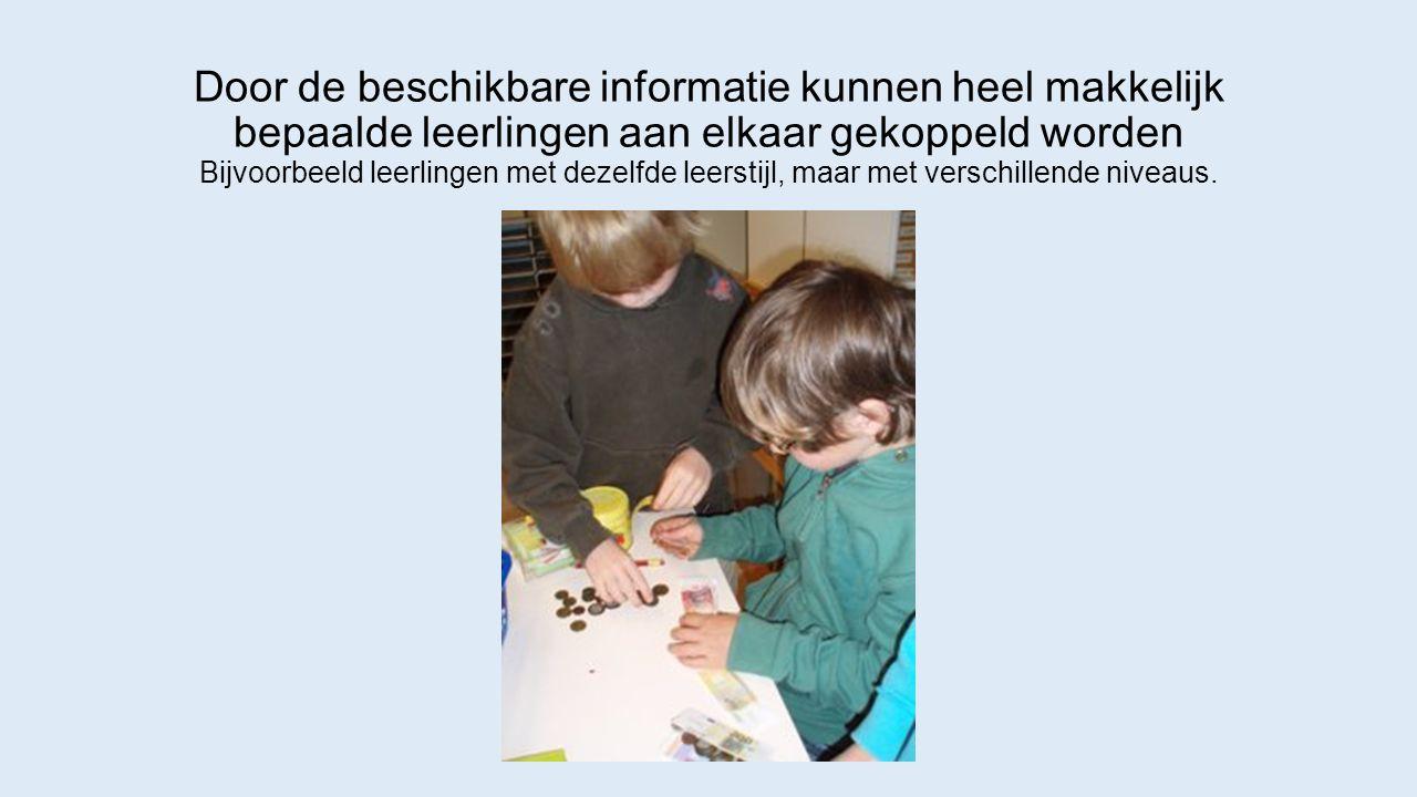 Door de beschikbare informatie kunnen heel makkelijk bepaalde leerlingen aan elkaar gekoppeld worden Bijvoorbeeld leerlingen met dezelfde leerstijl, maar met verschillende niveaus.