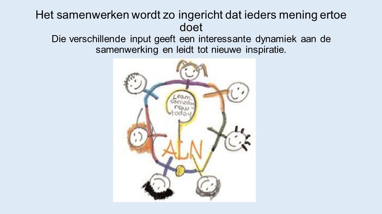 Het samenwerken wordt zo ingericht dat ieders mening ertoe doet Die verschillende input geeft een interessante dynamiek aan de samenwerking en leidt tot nieuwe inspiratie.