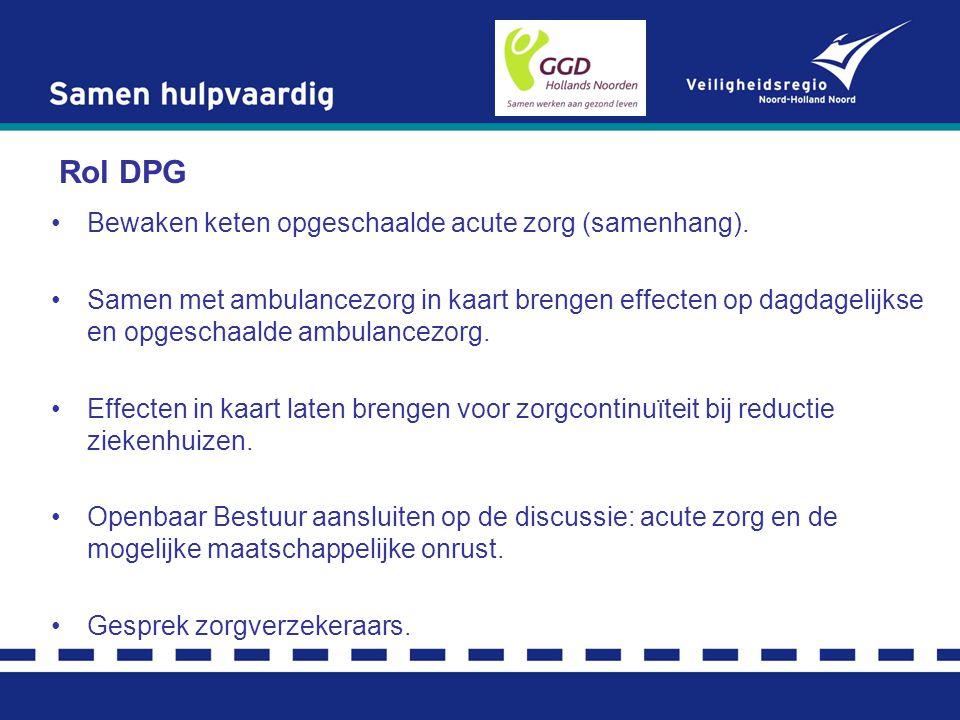 Rol DPG Bewaken keten opgeschaalde acute zorg (samenhang).