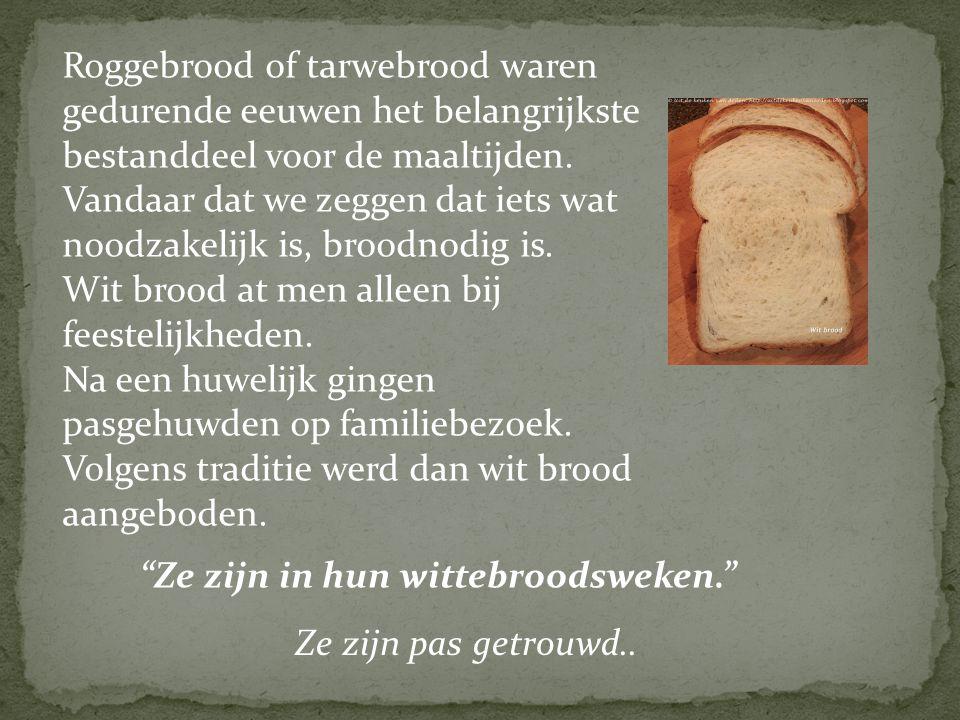 Roggebrood of tarwebrood waren gedurende eeuwen het belangrijkste bestanddeel voor de maaltijden. Vandaar dat we zeggen dat iets wat noodzakelijk is, broodnodig is.