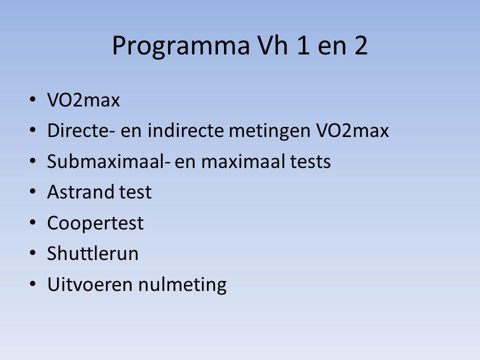 Programma Vh 1 en 2 VO2max Directe- en indirecte metingen VO2max