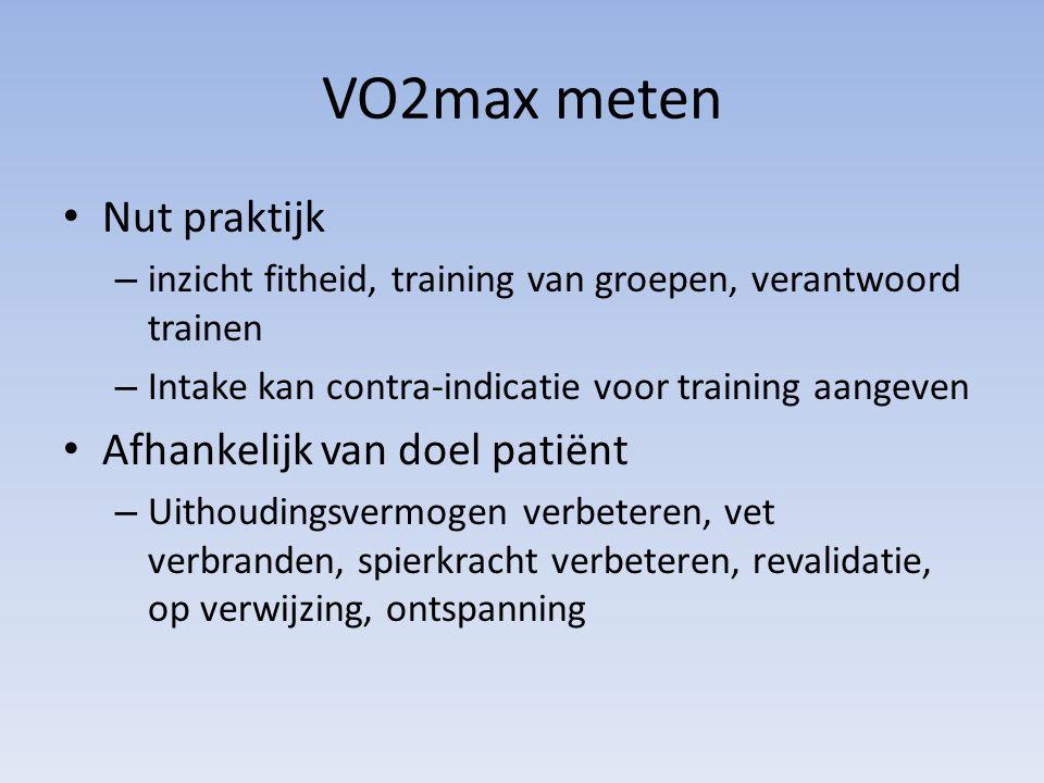 VO2max meten Nut praktijk Afhankelijk van doel patiënt