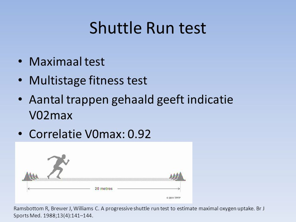 Shuttle Run test Maximaal test Multistage fitness test