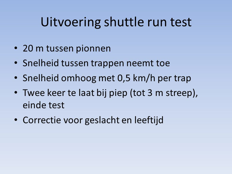 Uitvoering shuttle run test