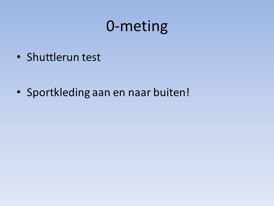 0-meting Shuttlerun test Sportkleding aan en naar buiten!