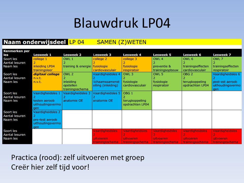 Blauwdruk LP04 Practica (rood): zelf uitvoeren met groep Creër hier zelf tijd voor!
