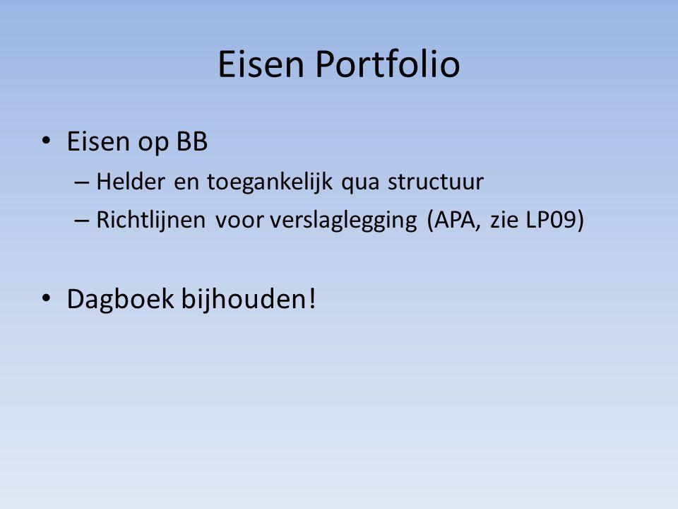 Eisen Portfolio Eisen op BB Dagboek bijhouden!