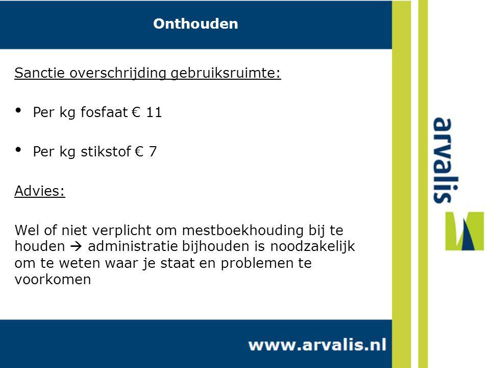 Onthouden Sanctie overschrijding gebruiksruimte: Per kg fosfaat € 11. Per kg stikstof € 7. Advies: