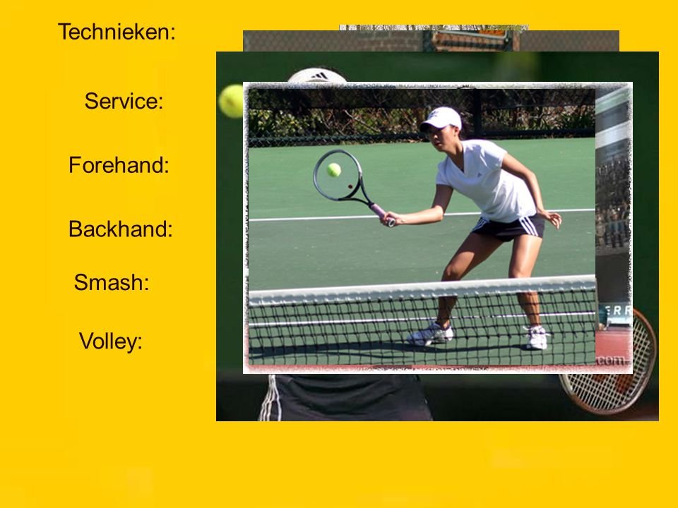 Technieken: Service: Forehand: Backhand: Smash: Volley: