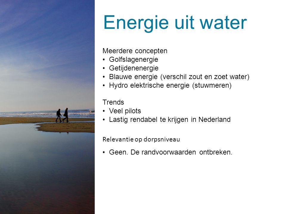 Energie uit water Geen zout / zout Geen sterke stroming Geen golven