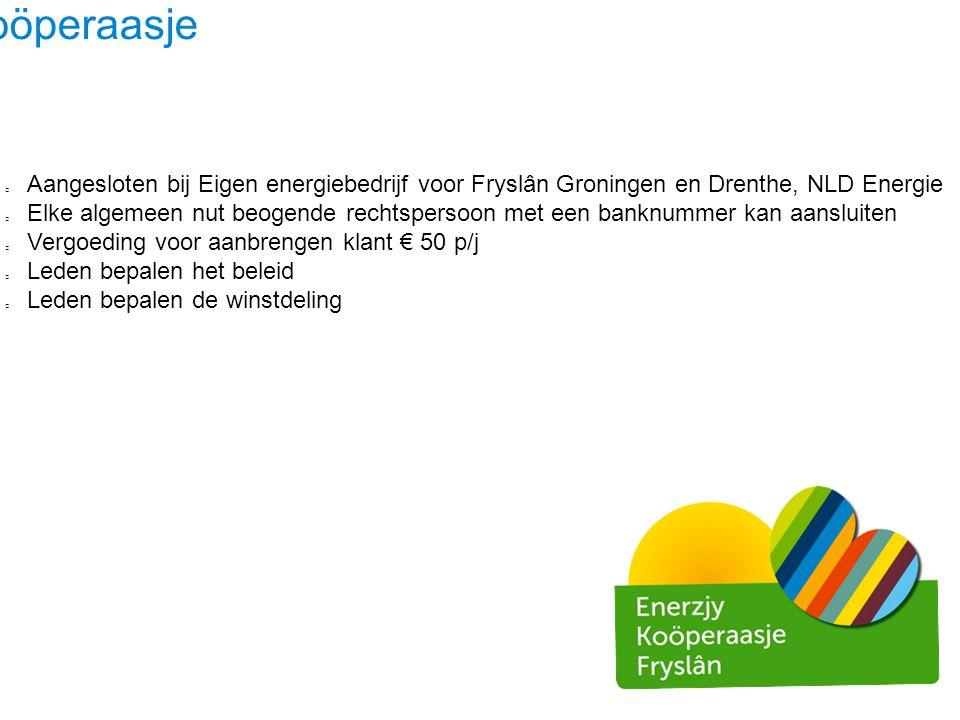 Ús Koöperaasje Aangesloten bij Eigen energiebedrijf voor Fryslân Groningen en Drenthe, NLD Energie.