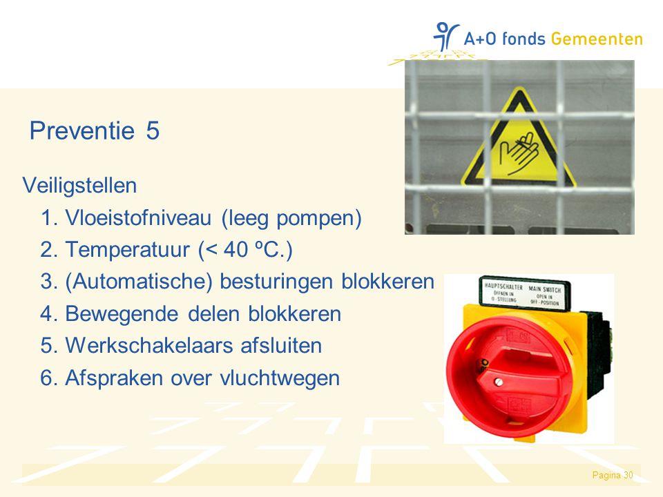 Preventie 5 Veiligstellen 1. Vloeistofniveau (leeg pompen)