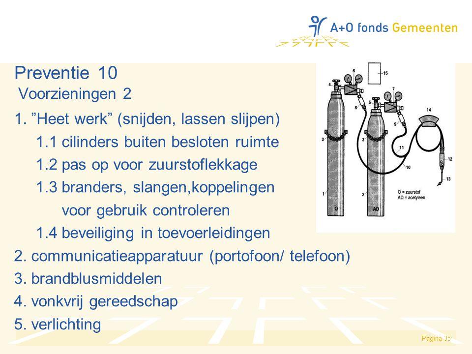 Preventie 10 Voorzieningen 2 1. Heet werk (snijden, lassen slijpen)