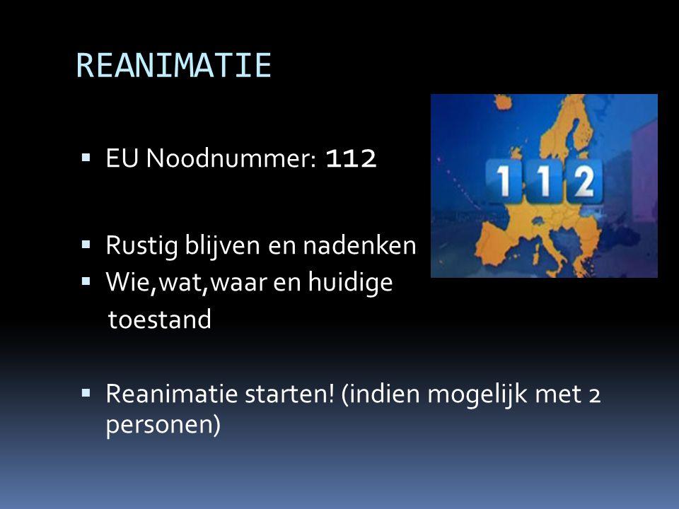 REANIMATIE EU Noodnummer: 112 Rustig blijven en nadenken