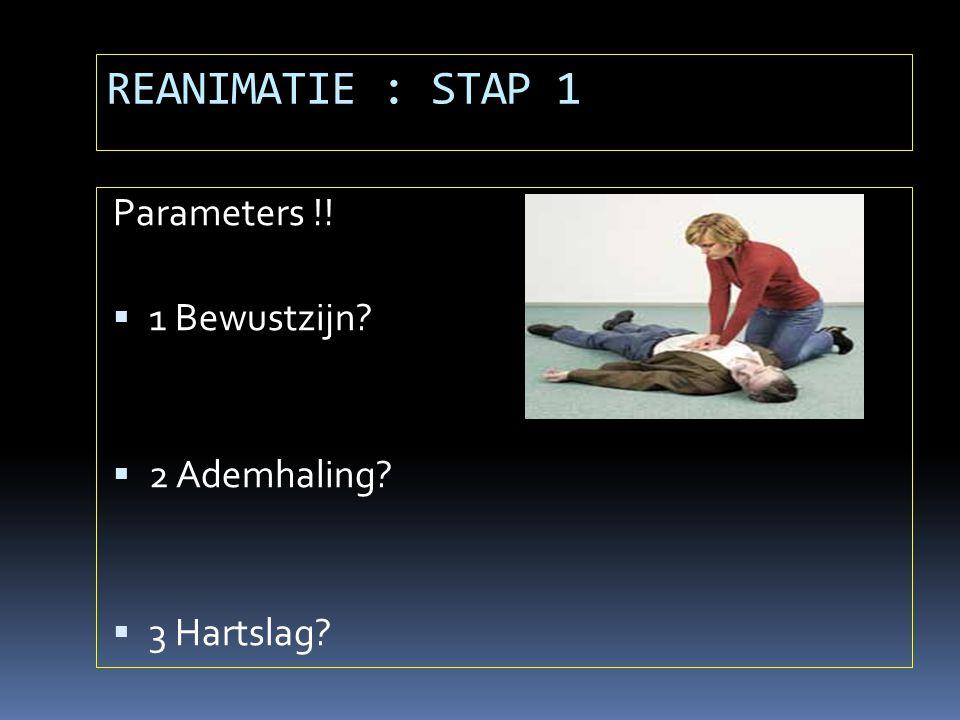 REANIMATIE : STAP 1 Parameters !! 1 Bewustzijn 2 Ademhaling