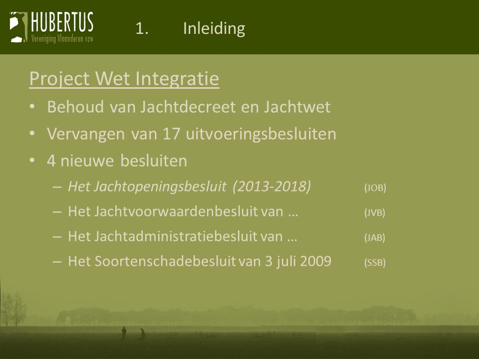 Project Wet Integratie