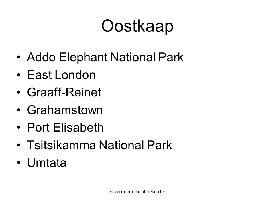 Oostkaap Addo Elephant National Park East London Graaff-Reinet
