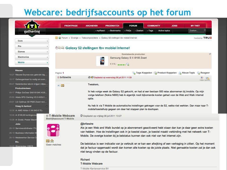 Webcare: bedrijfsaccounts op het forum