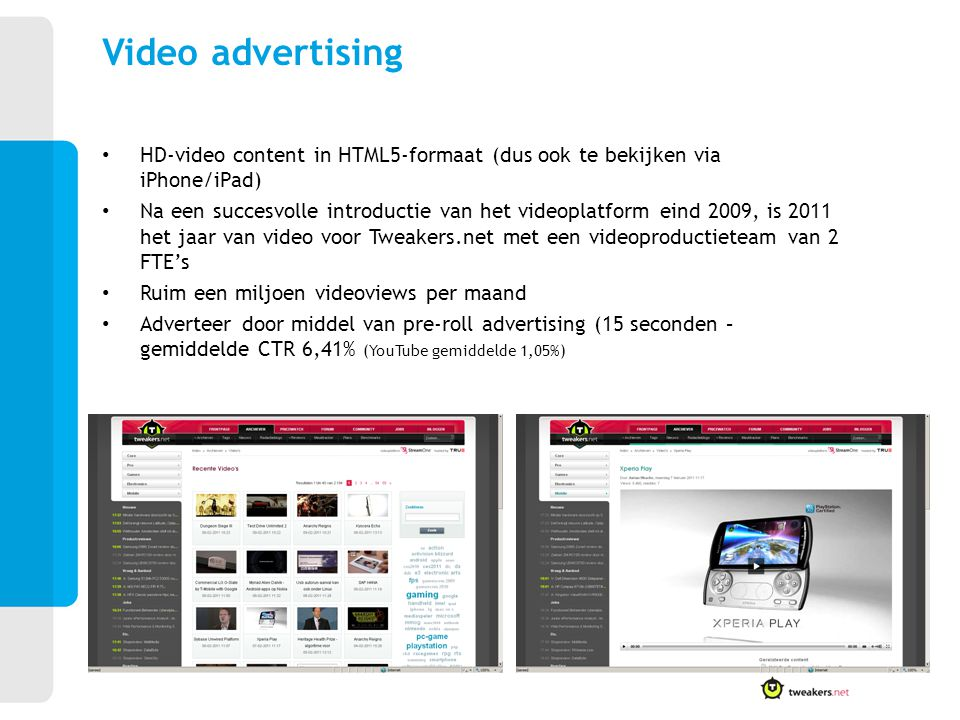 Video advertising HD-video content in HTML5-formaat (dus ook te bekijken via iPhone/iPad)
