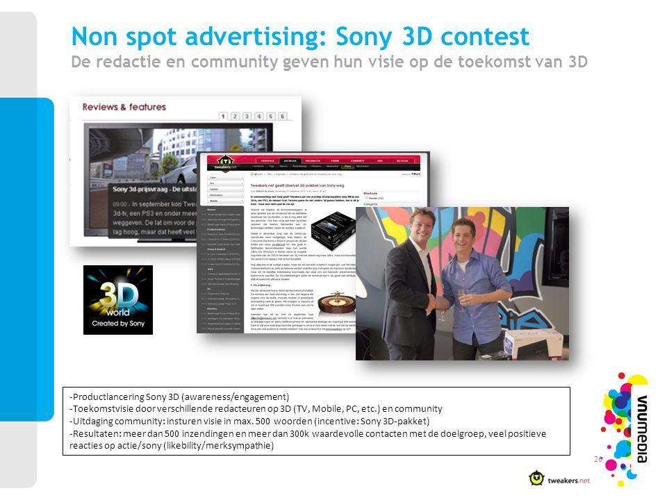 Non spot advertising: Sony 3D contest De redactie en community geven hun visie op de toekomst van 3D