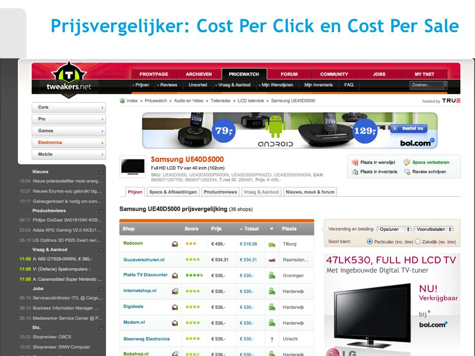 Prijsvergelijker: Cost Per Click en Cost Per Sale