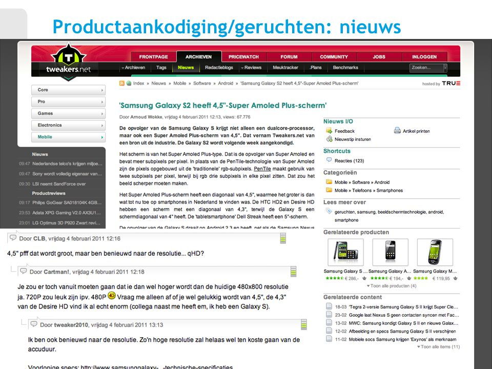 Productaankodiging/geruchten: nieuws