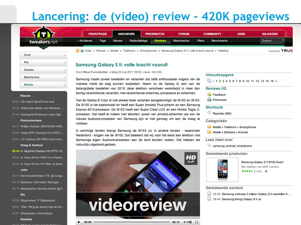 Lancering: de (video) review – 420K pageviews