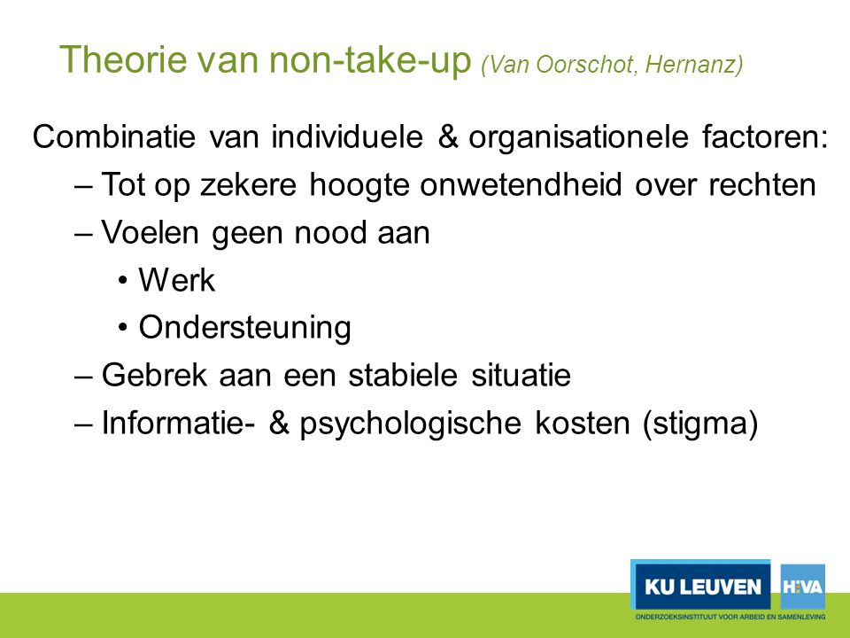 Theorie van non-take-up (Van Oorschot, Hernanz)