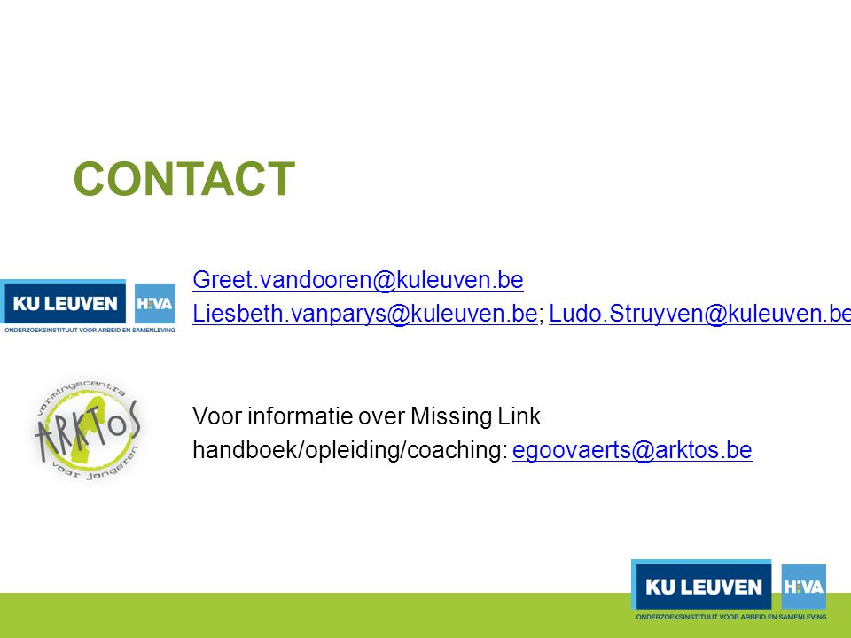 Contact Greet.vandooren@kuleuven.be