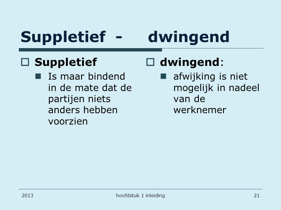 Suppletief - dwingend Suppletief dwingend: