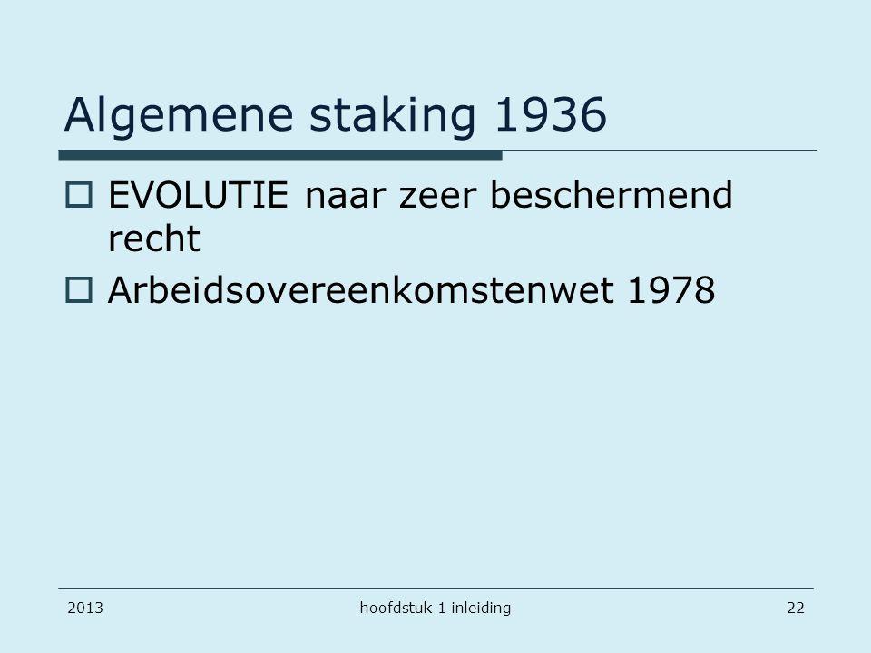 Algemene staking 1936 EVOLUTIE naar zeer beschermend recht