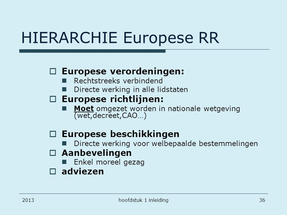 HIERARCHIE Europese RR