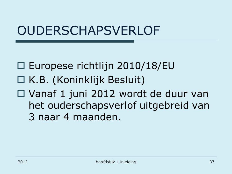 OUDERSCHAPSVERLOF Europese richtlijn 2010/18/EU