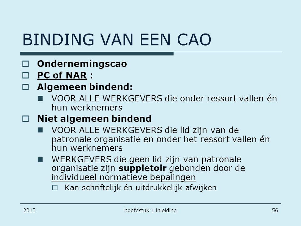 BINDING VAN EEN CAO Ondernemingscao PC of NAR : Algemeen bindend: