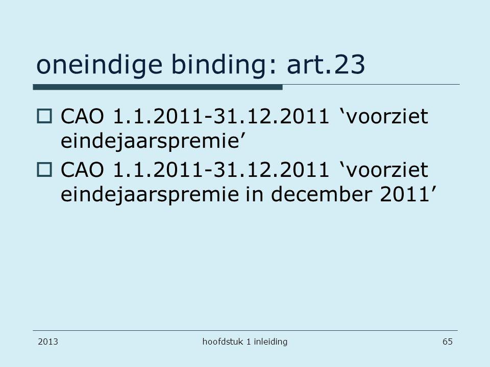 oneindige binding: art.23