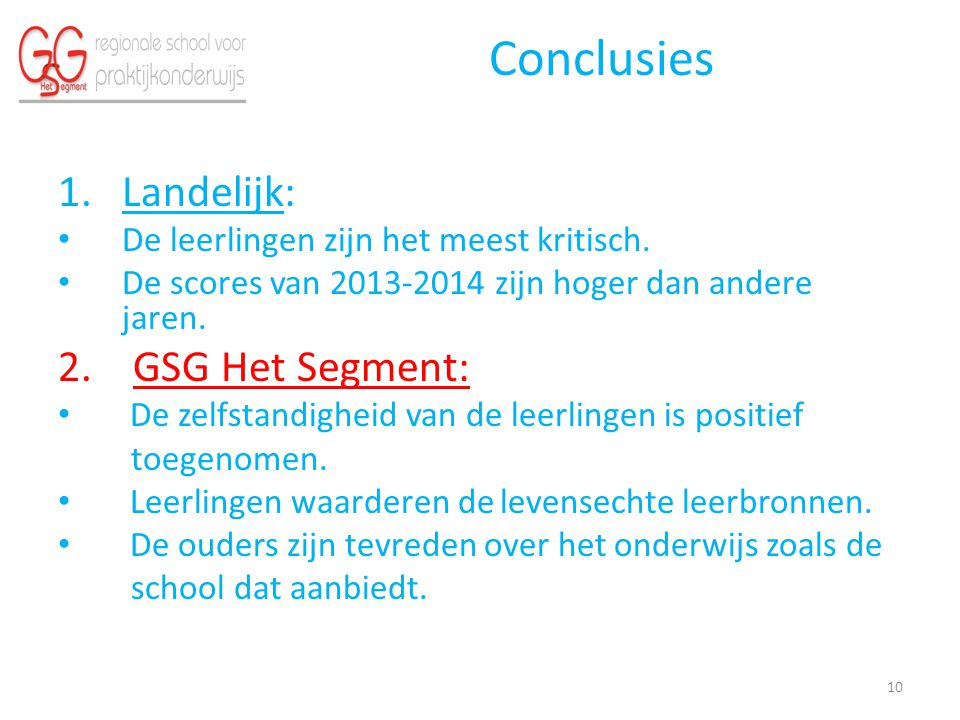 Conclusies Landelijk: 2. GSG Het Segment: