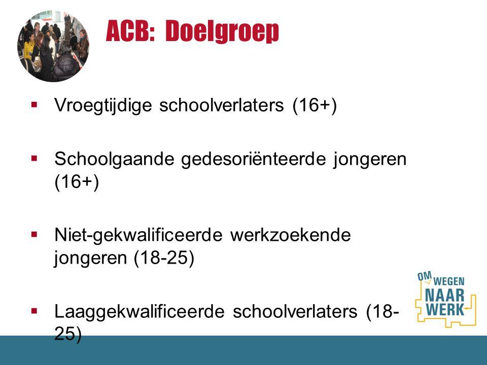 ACB: Doelgroep Vroegtijdige schoolverlaters (16+)