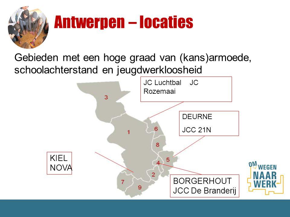 Antwerpen – locaties Gebieden met een hoge graad van (kans)armoede, schoolachterstand en jeugdwerkloosheid.