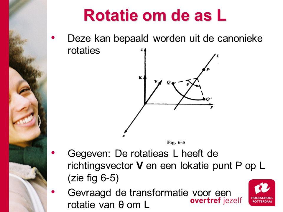 Rotatie om de as L Deze kan bepaald worden uit de canonieke rotaties