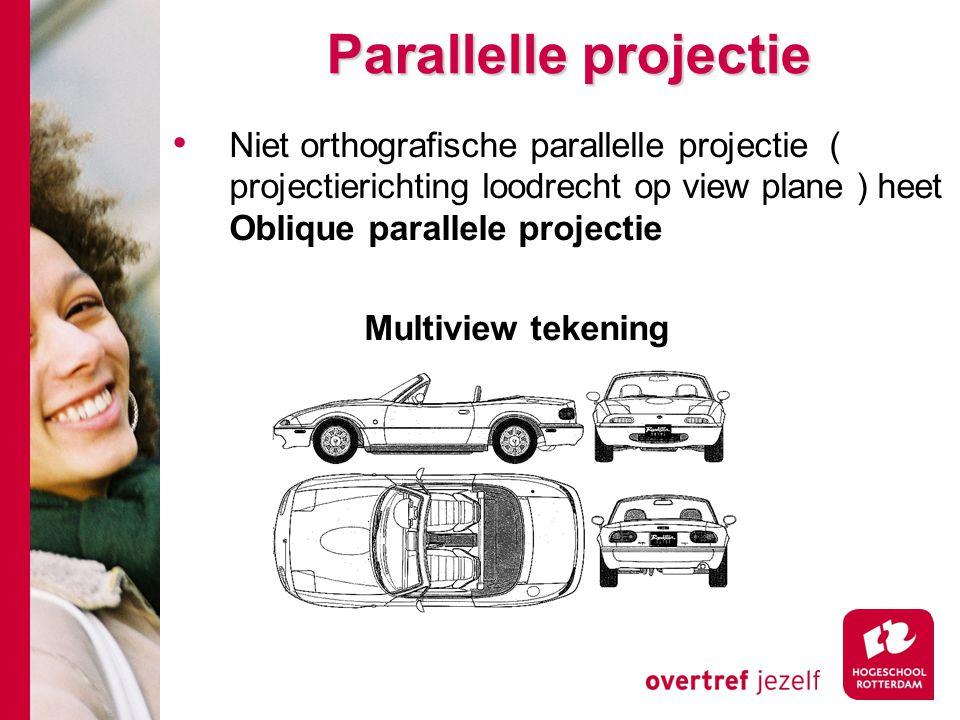 Parallelle projectie Niet orthografische parallelle projectie ( projectierichting loodrecht op view plane ) heet Oblique parallele projectie.