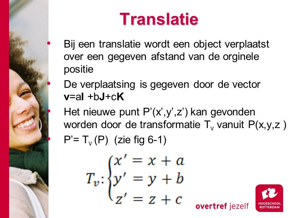 Translatie Bij een translatie wordt een object verplaatst over een gegeven afstand van de orginele positie.