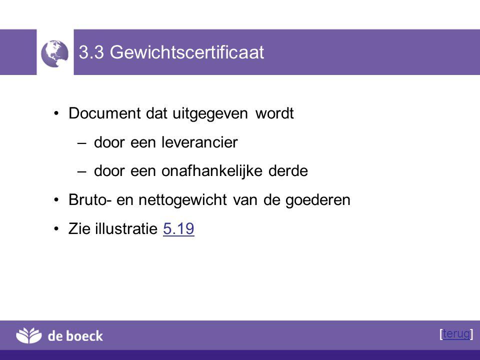 3.3 Gewichtscertificaat Document dat uitgegeven wordt