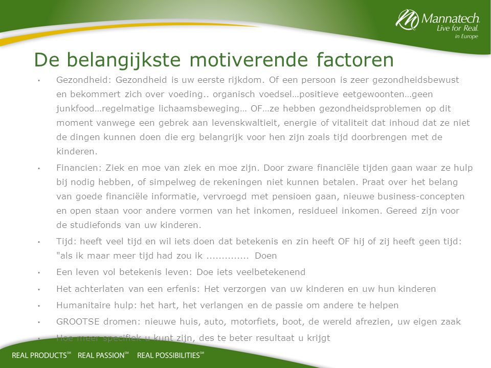 De belangijkste motiverende factoren