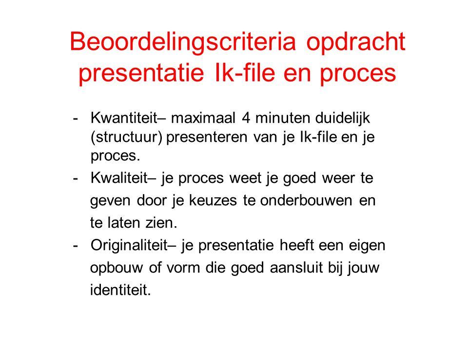 Beoordelingscriteria opdracht presentatie Ik-file en proces