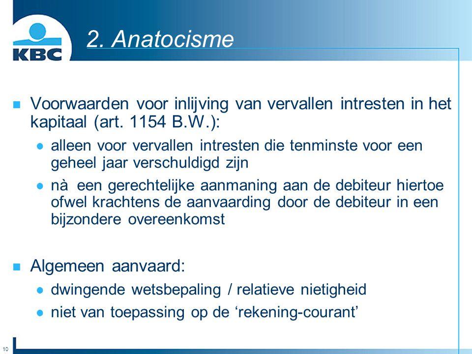2. Anatocisme Voorwaarden voor inlijving van vervallen intresten in het kapitaal (art. 1154 B.W.):